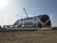 سقف سوله ورزشی به روش UBM در حال نصب بر روی تیر بتنی